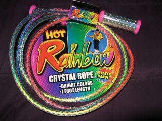 In Package 1 Rainbow Multi Color Crystal Plastic Jump Rope 7 Foot Long