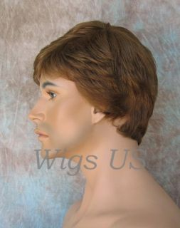 MENS WIGS Short layers left side skin part Medium Brown wig FS1