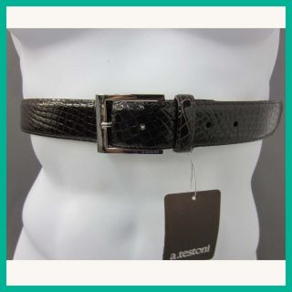 Testoni Mens Leather Crocodile Belt Dark Brown 38 US Rtl $965 Jmto