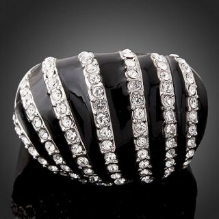ARINNA Swarovski Crystals Black Enamel GP Fashion Rings