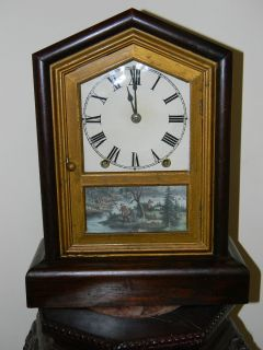 /Vintage Seth Thomas Mantel/ Shelf Clock   Hunting Scene w/ Young Boy