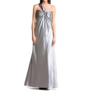Allen Schwartz Pewter Satin One Shoulder Gown Dress Evening Grey