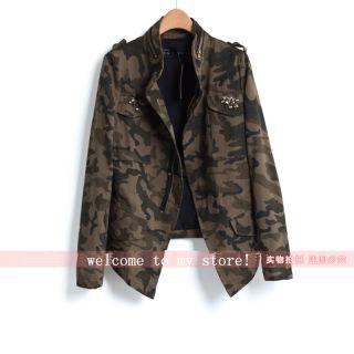 Vintage Autumn Woman Lady Army Green Camouflage Pocket Beading Jacket