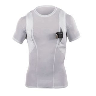 11 Tactical 40011 White Compact Carry Mens Holster Shirt Crew Fit