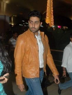 Bollywood Actor Abhishek Bachchan Tan Leather Jacket Mens Tailor Made