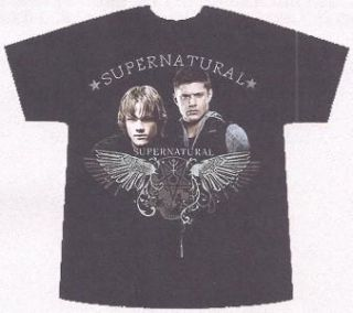 Supernatural TV Sho Shirt Sam Dean w Castiels Wings M