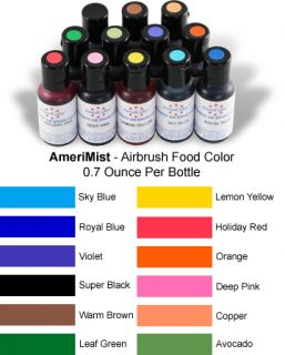 New 12 Ameri Colors Cake Decorating Kit w/ 3 Airbrush Air Compressor