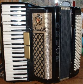 SCANDALLI beautiful black ACCORDION . vintage . WORKS WELL . case