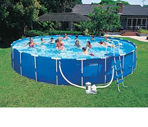 x48 Round Intex Metal Frame Above Ground Swimming Pool Package