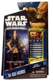 Star Wars action figure from the Clone Wars. Includes Battle Game card