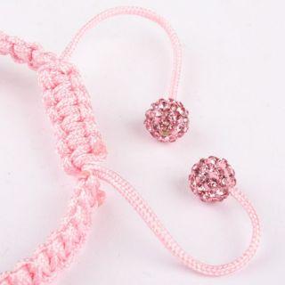 Pink Rhinestone Hand Knitted Adjustable Bracelet Bangle