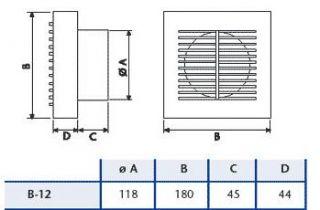 Deluxe low profile axial fan, f or wall, ceiling or window (window kit