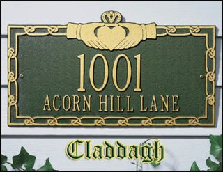Personalized Claddagh Address Sign Plaque Marker Gift