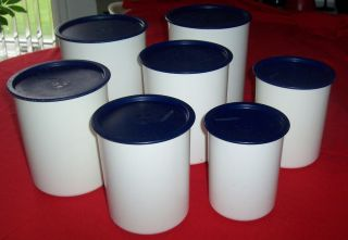 Tupperware One Touch Canister Set White Base Air Tight Cobalt Blue