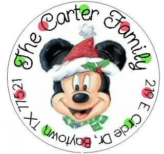 Christmas Mickey Mouse Round Return Address Labels