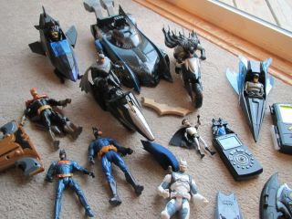 Big Lot 9 Action Figures Bat Mobile 2 Motorcycles 3 Aircrafts