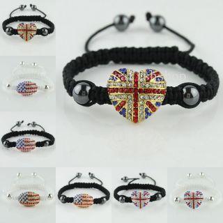 Union Jack USA Flag Crystal Silver Gold Connector Adjustable Bracelet