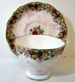 Royal Albert Bone China Cup Saucer Set Old Country Roses Peach Damask