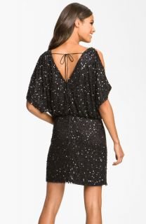Aidan Mattox Bloused Sequin Cold Shoulder Dress 8 $320 00