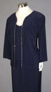 14W Alex Evenings Navy Rhinestone Jersey Gown Bolero Mob Bog $170