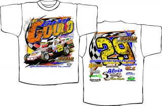 2012 Gary Gould Dirt Track Racing T Shirts Free Autographed Hero Card