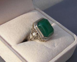 Antique Edwardian 14k White Gold Filigree Ring Chrysoprase