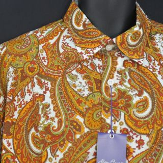 NEW Alan Flusser Loud Fall Orange Yellow Brown Paisley Long Sleeve