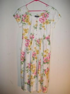 Vintage 80s Floral Print Cotton Jacquard Full Skirt Summer Dress Sz M