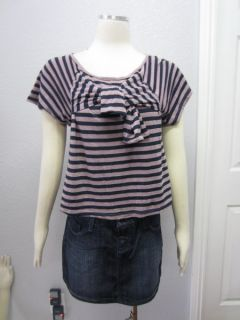 Akiko  Brown Purple Striped Bow Tie at Bust Loose Fit Top