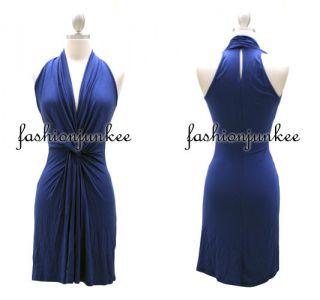 Black Twist Aline Mini Dress Low Cut Plunging Neckline Keyhole Jersey