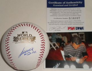 Alexi Ogando Texas Rangers PSA DNA COA Signed 2011 World Series