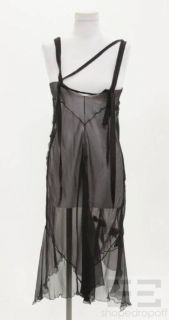 Alberta Ferretti Black Sheer Silk Sleeveless Dress, Size US 8