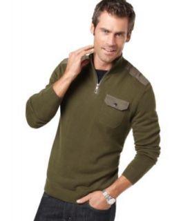 Alfani NEW Green 1 4 Zip Snap Pocket Long Sleeve Funnel Neck Sweater