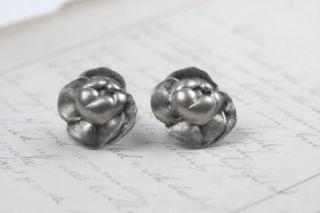 Vintage Art Nouveau Sterling Silver 925 Floral Flower Earrings