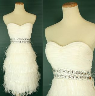 Alex Sophia $200 Ivory Strapless Evening Homecoming Cocktail Dress 5