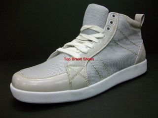 Mens Gray Silver High Top Fashion Sneaker Casual Shoes