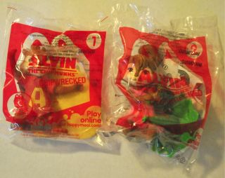 McDonalds 2011 Alvin Chipmunks Chipwrecked Toys 1 Alvin 2 Brittany
