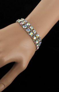 Antique Sterling Deco Aurora Borealis Rhinestone Double Link Bracelet