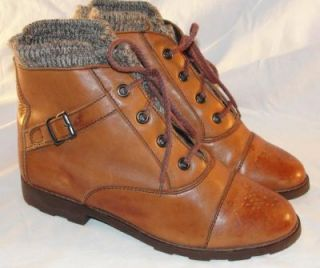 Leather Creations Vintage Granny Grunge Women Boots Size 6 5 Knit Wool