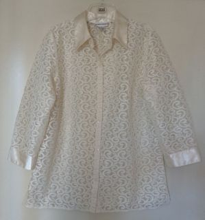 Womens ALFRED DUNNER Size 10 Shirt Top Blouse Ivory Lace Satin