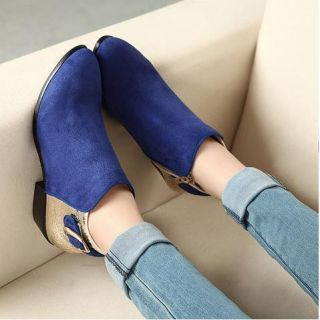 Womens Shoes Low Heel Ankle Boots Suede Riding Booties