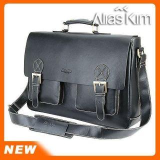 Alia Kim 2 Way Mens Black Leather Messenger Briefcase 15 Laptop
