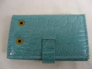 Amity Cowhide Vintage Light Blue Secure Lock Key Case Holder Never