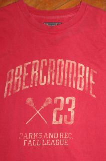 XL Abercrombie Fitch Distressed Red Long Sleeve Pullover Crew Shirt