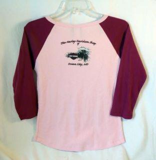 Raglan Sleeve Pink Harley Davidson T Shirt Sz Med Ocean City MD