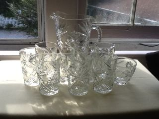 Anchor Hocking Vintage Glass Star Pitcher with 8 Matching Glasses