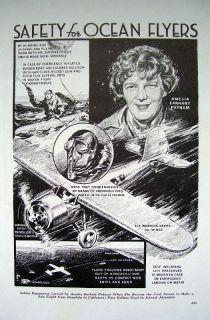 Aviator AMELIA EARHART PUTNAM Aircraft Safety Equipment Original 1935