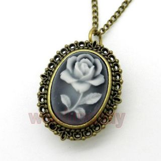 Bronze White Rose Quartz Pocket Watch Necklace Pendant Chain Girl Lady