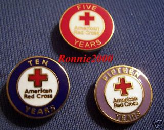 10 or 15 Years of Service American Red Cross Pin