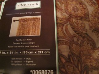 Allen Roth Montville Sheer Rod Pocket Drape Curtain Brown Beige